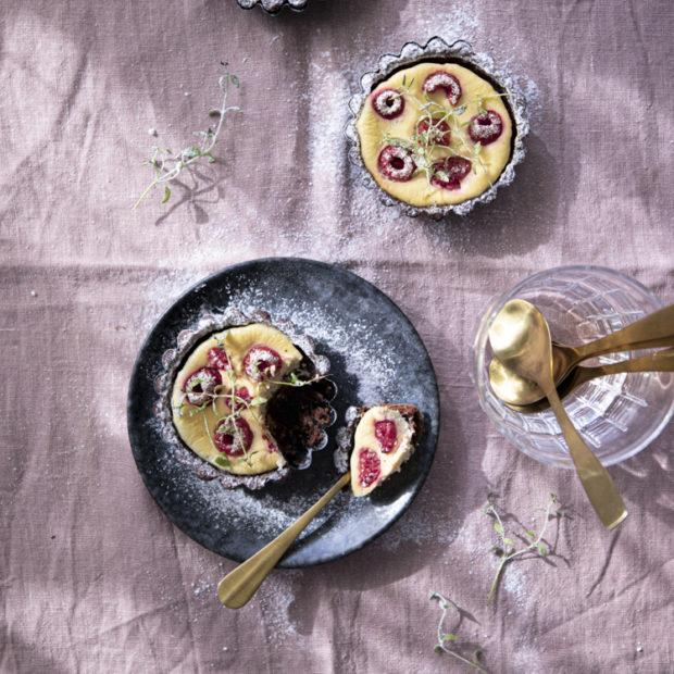 Tartaletky s cheesecake náplní a malinami